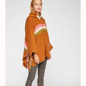 Free People Desert Sunrise Poncho Sweater